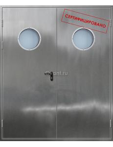 Дверь противопожарная двупольная нержавеющая с круглым остеклением