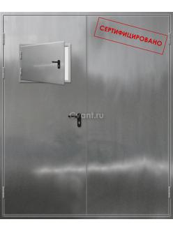 Дверь противопожарная двупольная нержавеющая с люком