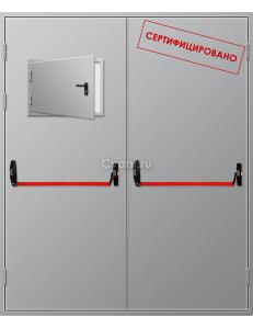 Дверь противопожарная двупольная с люком и антипаникой