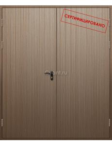 Дверь противопожарная двупольная глухая с отделкой МДФ