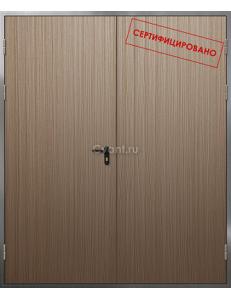 Дверь противопожарная двупольная нержавеющая с отделкой МДФ