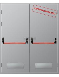 Дверь противопожарная двупольная с вентиляционной решеткой с антипаникой