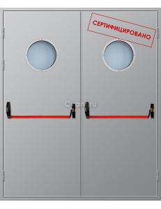 Дверь противопожарная двупольная с антипаникой и круглым остеклением