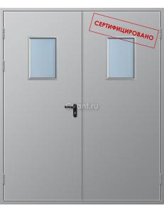 Дверь противопожарная двупольная глухая с прямоугольным остеклением