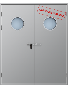 Дверь противопожарная двупольная глухая с круглым остеклением
