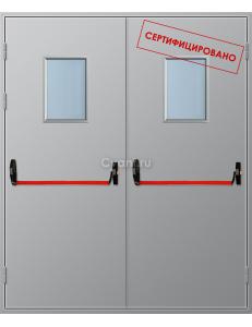 Дверь противопожарная двупольная с квадратным остеклением и антипаникой