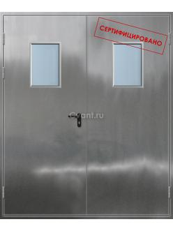 Дверь противопожарная двупольная нержавеющая с квадратным остеклением