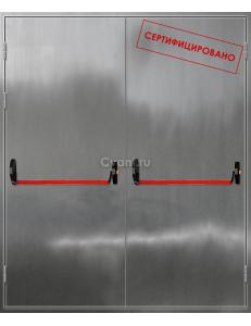 Дверь противопожарная двупольная нержавеющая с антипаникой