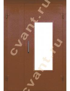 Подъездные двери глухие со стеклом (порошковая окраска)