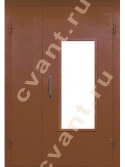 Подъездные двери глухие со стеклом, порошковая окраска